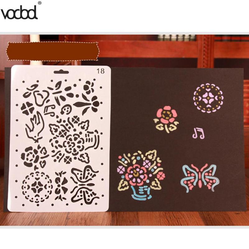 Flower Butterfly 11 Types Hollow Template Ruler Stencils For DIY Scrapbooking Photo Album Drawing Painting Tool Card Craft Decor