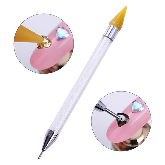 1 Pc Dual-ended Dotting Pen Rhinestone Studs Picker Wax Pencil Crystal Beads Handle Manicure Nail Art Tool