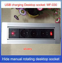EU plug Desktop socket/hidden manual rotation / Mobile charge USB charging  desktop socket /Can choose function module/ MF-030