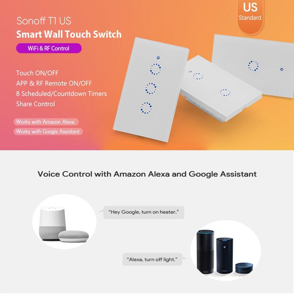 Sonoff T1 US Smart Wifi Wall Touch valguslüliti 1 2 3 Gang Touch - Nutikas elektroonika - Foto 6