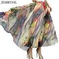 2017 Nova Primavera Verão Mulheres De Longo Maxi Saia Elástica Alta da cintura Vestido De Baile Balanço Boemia Print Floral Chiffon Saia Faldas Largas