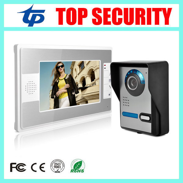 Good quality 7 inch color video door phone door bell video intercom system with IR night version camera video door phone intercom video door bell 7 inch color doorphone kit ir system outdoor metal panel with pin hole camera