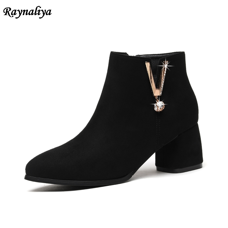 Luxury Design Women Ankle Boots Kid Suede High Heel Short Boots Zip Black Boots 2018 Spring Female Shoes Red LSN-B0017 xiuningyan flat black ankle boots for women kid suede short boots women female fashion low heel hademade ladies booties 2018 new