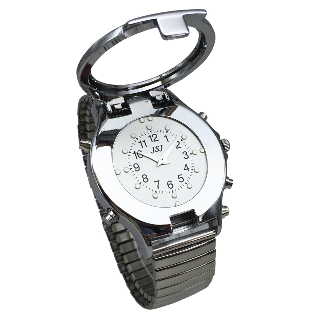 Spanish Talking And Tactile Watch For Blind People Or Visually Impaired People, White Dial, Black Number