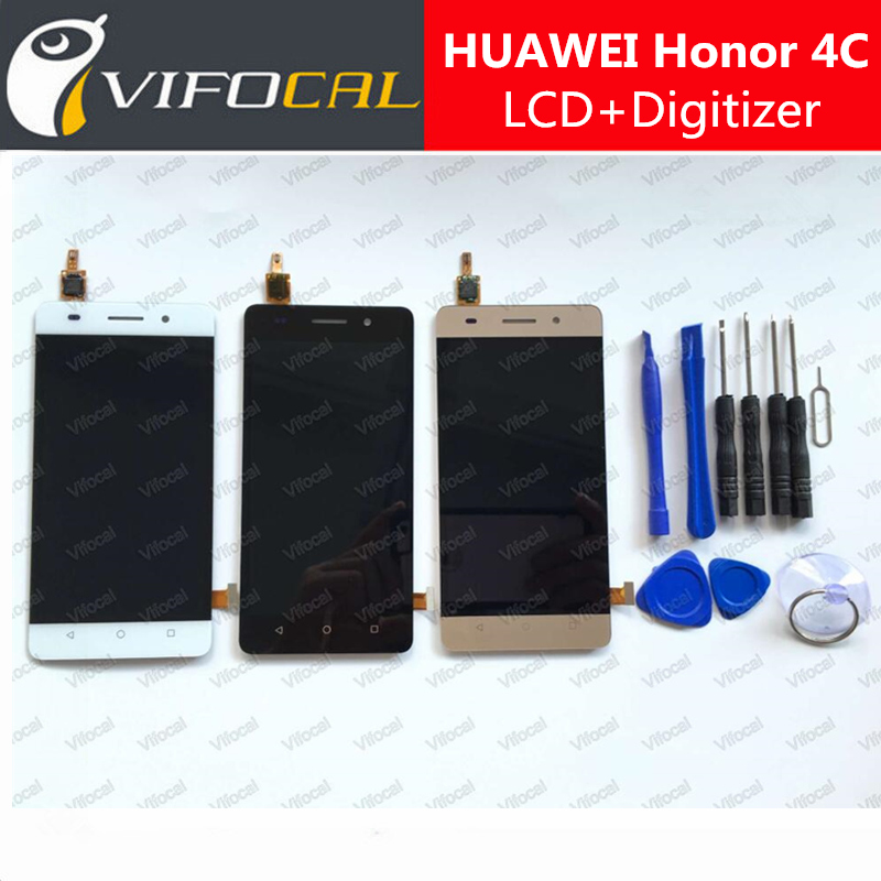 For HUAWEI Honor 4C LCD Display + Touch Screen Sensor + Tools High Quality Digitizer Assembly Replacement - Gold Black White lcd display touch screen digitizer assembly fit for huawei ascend c199 d199 g8 replacement repair part with tools high quality