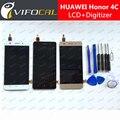 Para huawei honor 4c pantalla lcd + pantalla táctil sensor + herramientas de Alta Calidad de la Asamblea Del Reemplazo Del Digitizador-Negro Oro blanco