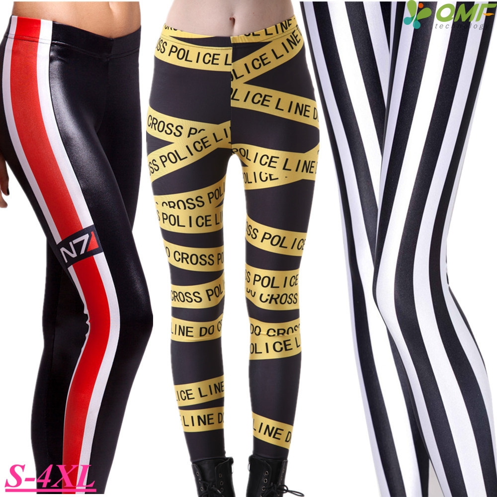 523beee5dd8f5 Detail Feedback Questions about Yellow Police Cordoned Fitness Workout  Leggings Black White Stripe Running Tight Trousers Women's Elastic Slim  Sport Pencil ...