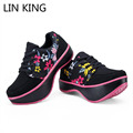 LIN KING New Floral Swing Shoes Woman Fashion Protection Vertebra Lumbar K-type Negative Heel Female Loss Weight Elevated Shoes