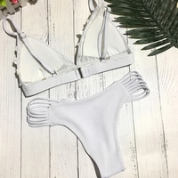 Women Floral Embroidery Sexy Bra Cut Out Briefs Solid Two Piece Bikini Swimsuit 2