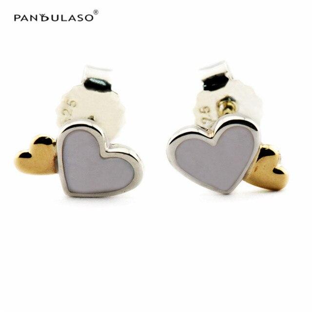 Stud Earrings for Women 925 Sterling-Silver-Jewelry Golden Love Heart Earring 2016 New Women Fashion Gift Wholesale