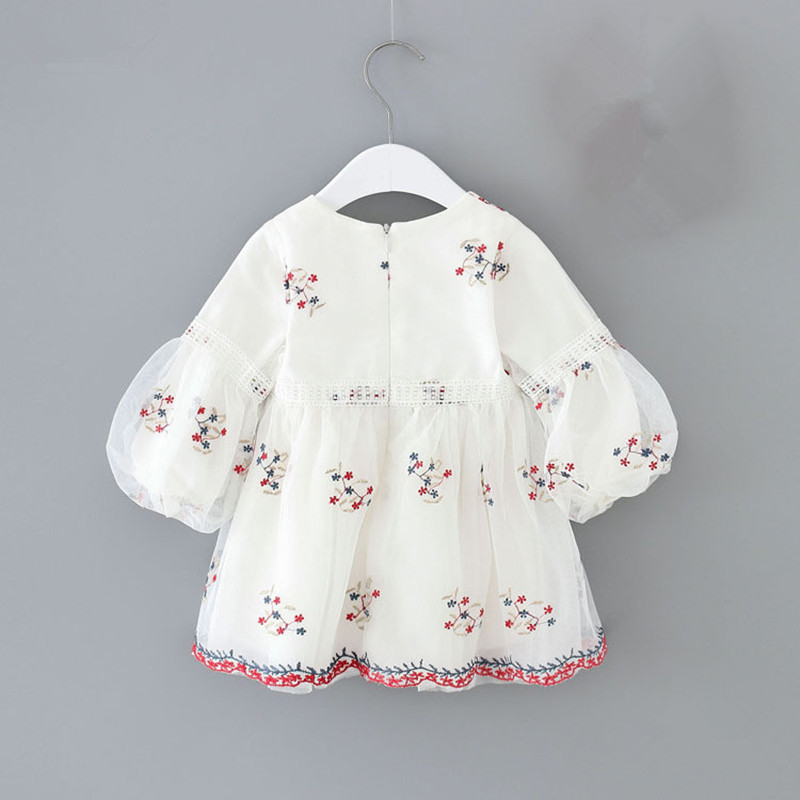 Newborn Baby Girls Autumn Dress Christening Ball Gown Puff Sleeve Princess Dress For Kids Infant Party Birthday Dress 0-2T white