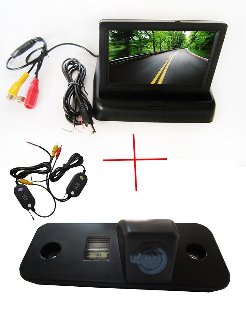 Wireless Color CCD Chip Car Rear View Camera for Hyundai Santa Fe santafe | Azera + 4.3 Inch foldable LCD TFT Monitor wireless color ccd chip car rear view camera for kia sorento sportage 4 3 inch foldable lcd tft monitor