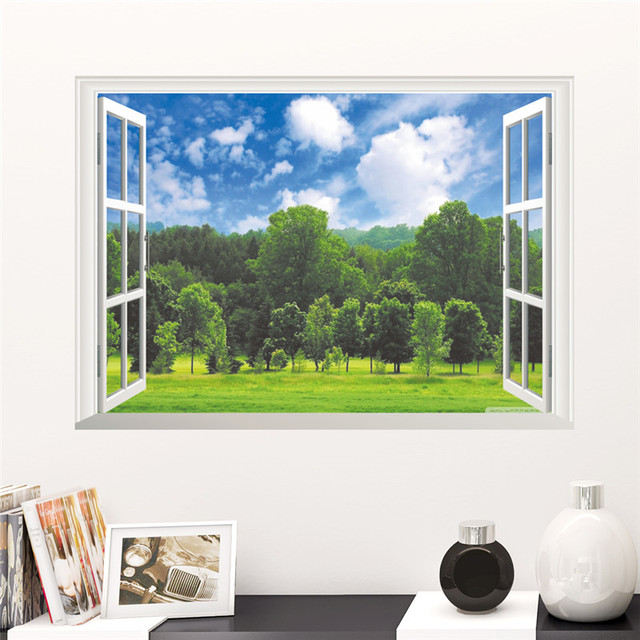Natural Forest Scenery View Wall Sticker Living Room Bedroom TV Background  Sofa 3D Window Wall Decals