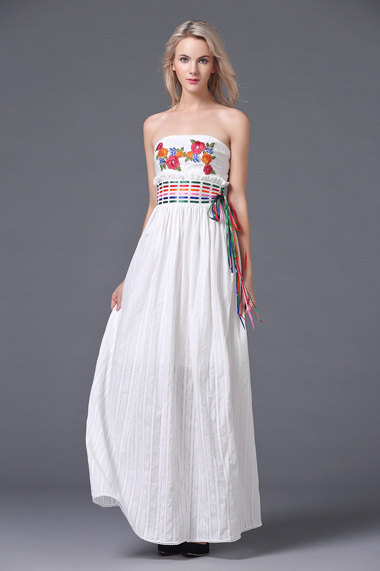 Cotton Dress Flowers Embroidery