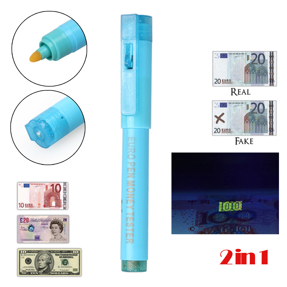 2in1 counterfeit fake bank note money counter tester detector pen uv light