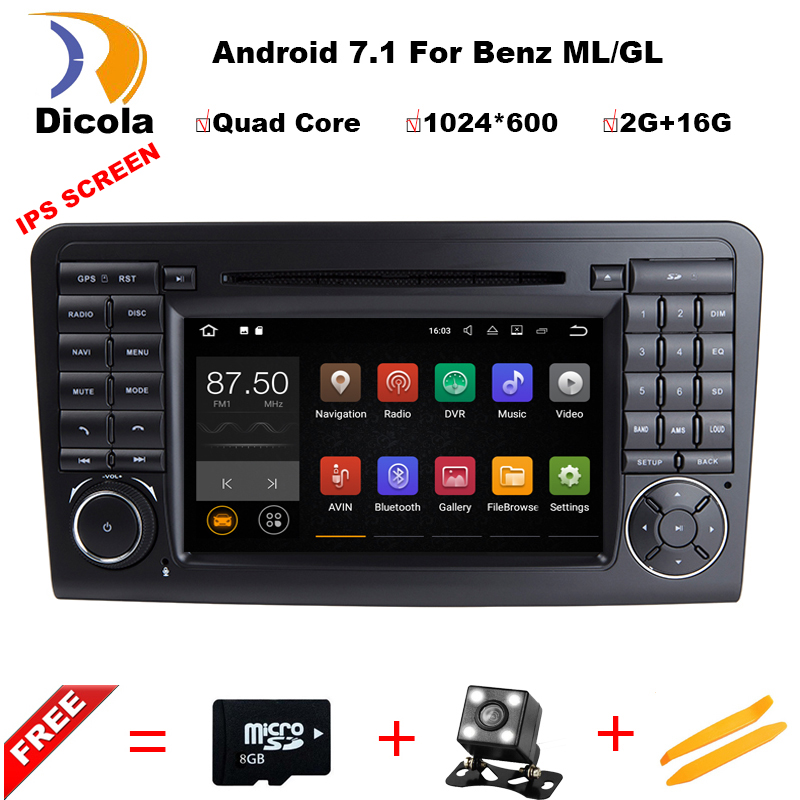 Android 7.1 Radio GPS HDMI Car DVD Player for Mercedes Benz ML Class W164 ML300 ML350 ML450 ML500 2005-2011 GL Class X164 цена