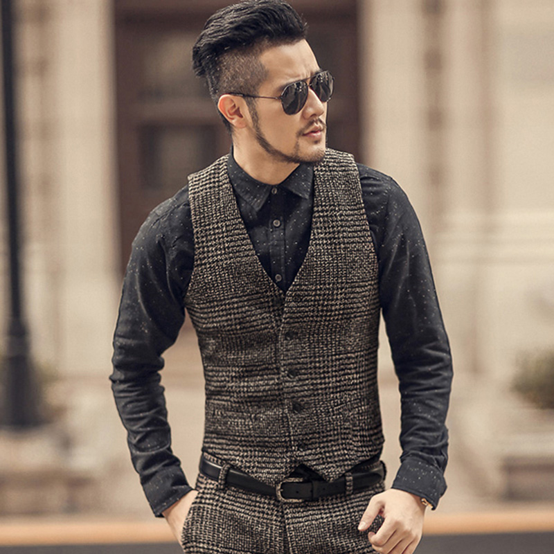 New Arrival Winter Men Woolen Casual Plaid European Style Vest Men Slim Fashion Brand Design Suit Vest Waistcoat Fashion M108-2