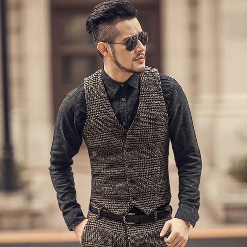 New Arrival Winter Men Woolen Casual Plaid European Style Vest Men Slim Fashion Brand Design Suit Vest Waistcoat Fashion M108-2
