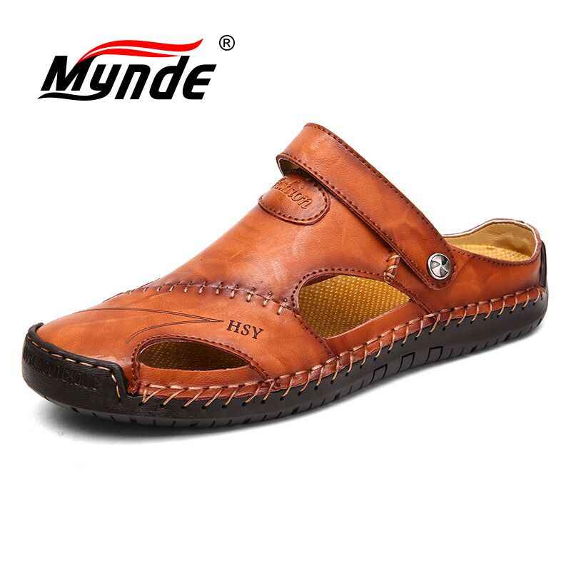 Mynde 2019 New Summer Band Men Sandals Leather Beach Sandals Outdoor Breathable Roman Men's Slippers Water Shoes Big Size 39-48