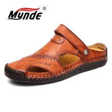 Mynde 2019 New Summer Band Men Sandals Leather Beach Sandals
