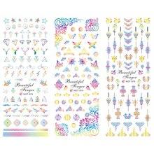 3 упаковки/партия наклейки для татуировки ногтей водная наклейка для дизайна ногтей слайдер олень Алмазный цветок бабочка счастливый узел узор HOT373-375