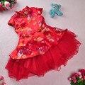 Envío gratis recién llegado de Red Hot traje de estilo chino Kid niño Cheongsam vestido Qipao vestido de bola de princesa velo