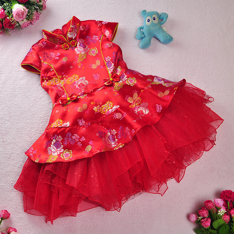 Free shipping New arrival Red Hot Chinese Style costume  Kid Child Girl Cheongsam Dress Qipao Ball Gown Princess girl veil Dress