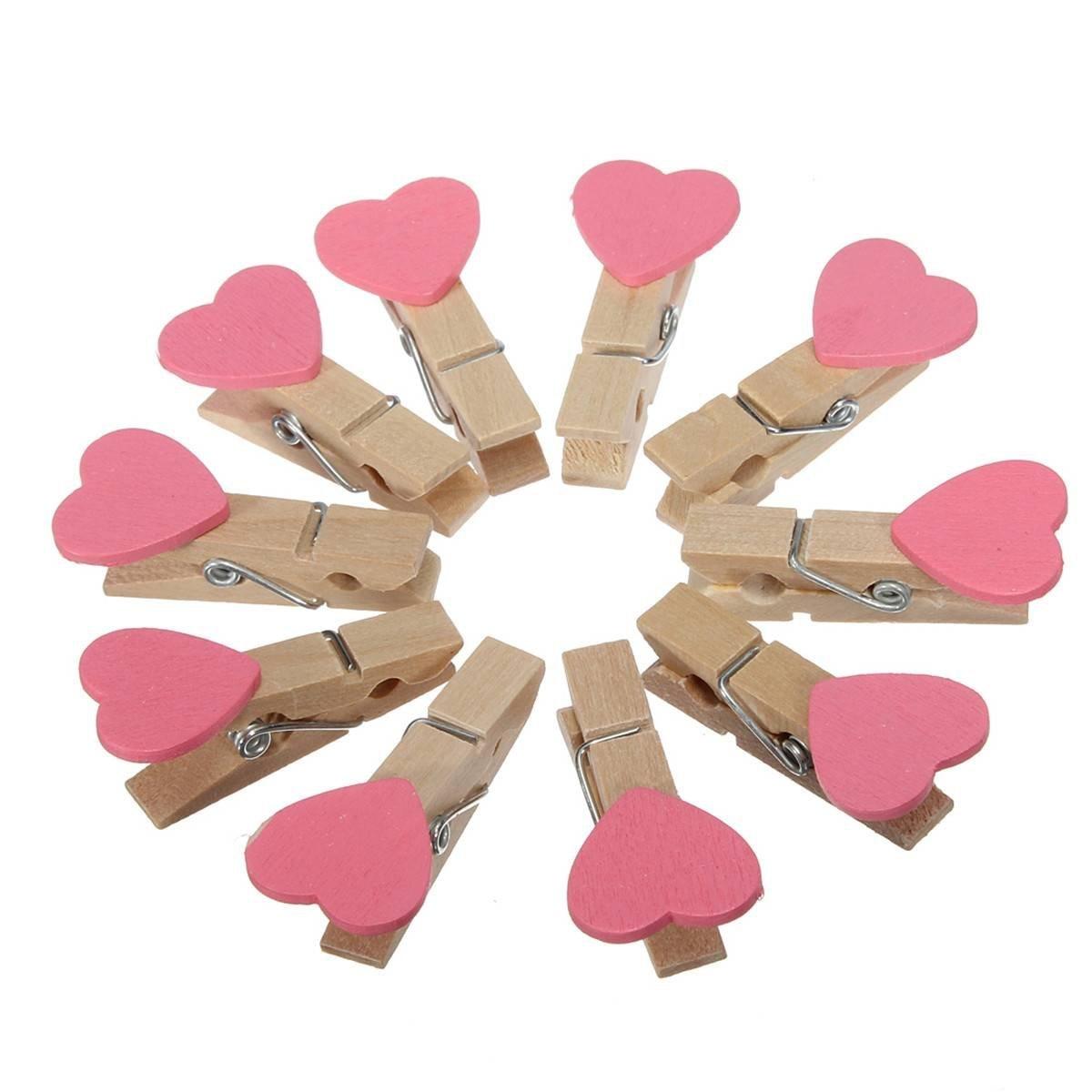 10 шт (50 шт. 3.5 см Мини Сердце деревянная прищепка для Фотобумага деревянные украшения дома Развлечения Творческий Розовый