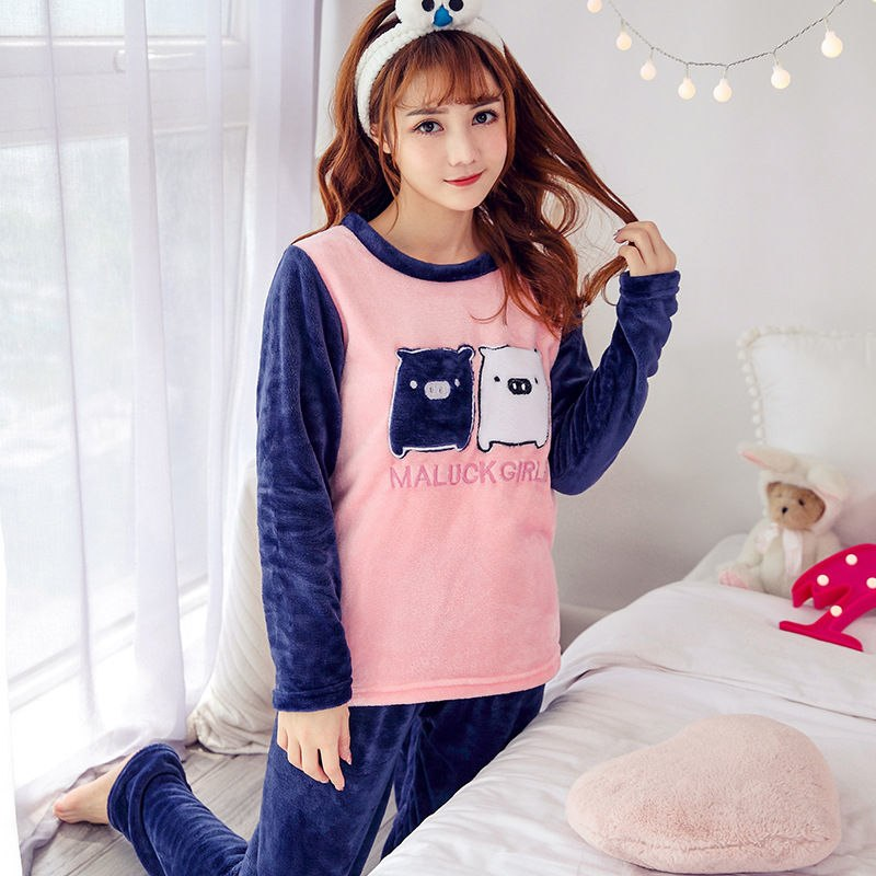 High Quality Women Pajama Sets Winter Soft Thicken Cute Cartoon Flannel Sleepwear 2 pcs/Set Tops + Warm Pants Home Clothes Mujer 97