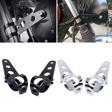 Soporte Universal para faro de motocicleta, de 33 45mm, para Bobber Cafe Racer, de plata de alta calidad, 2 uds.