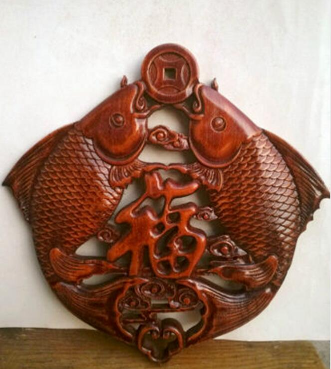 Chinese Wood Carved Animal Double Fishes Bitting Coin Safe And Good Luck Pendant Exquisite Statue|Statues & Sculptures| |  - title=