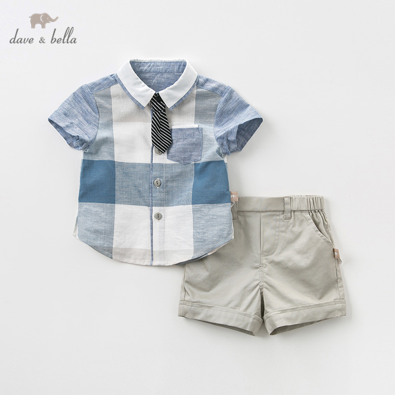 DB11502 Dave bella summer baby boys clothing sets fashion children plaid tie suits infant high quality