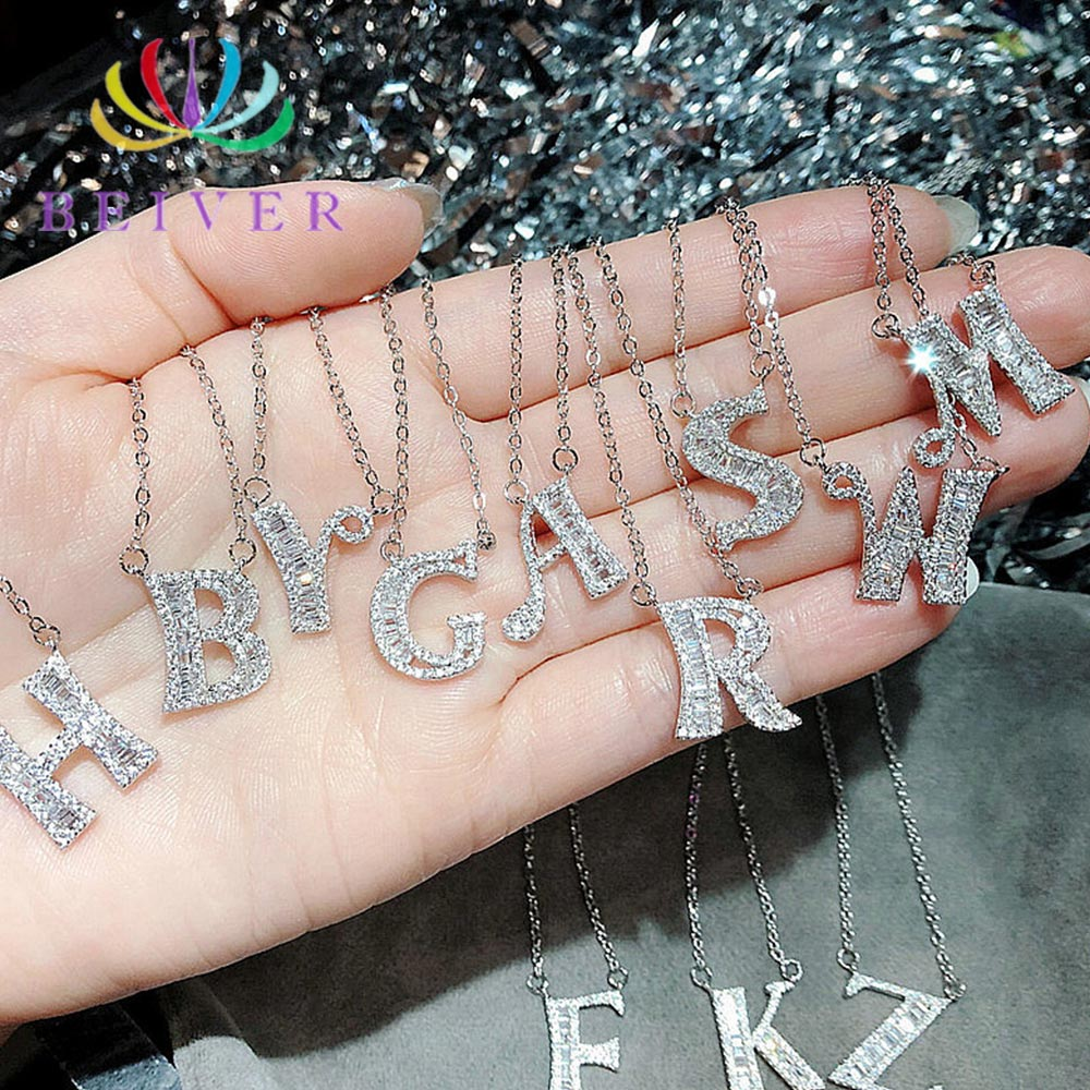Necklace-Pendant Crystal Stone Clear Beiver 26-Letters Shiny New-Arrival Jewelry Cubic-Zircon
