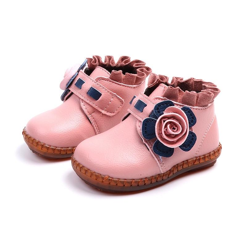 2018 최신 겨울 어린이 부츠 여자 귀여운 꽃 가죽 신발 아기 아이 따뜻한 부팅 공주 발목 부츠 유아 신발