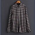 2017 New Spring Summer Men Plaid Shirt Turn-down Collar Long Sleeve Casual Shirt Men Clothing Fit High Quality
