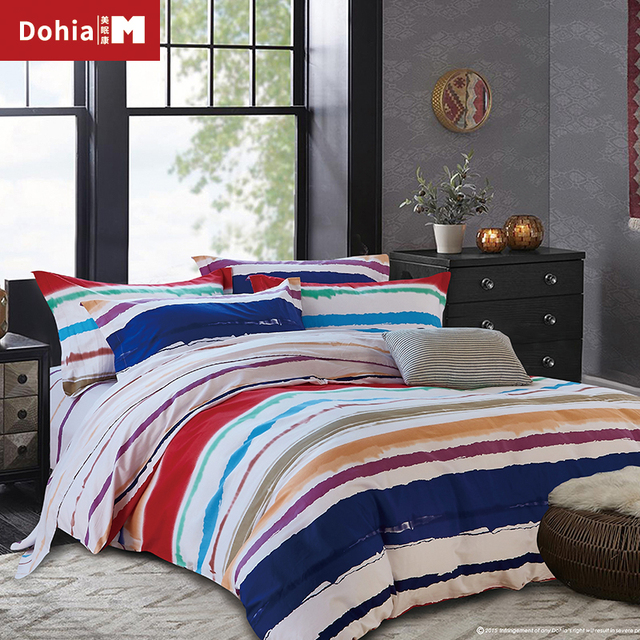 Dohiammk Rainbow Bed Sheet Sets 4PCS FULL/QUEEN/KING Children Colorful  Bedding Cover 100