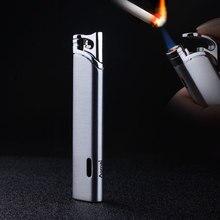 Компактная струйная Бутановая Зажигалка, турбо газовая сигарета 1300 с, ветрозащитная полосатая Трубная Зажигалка без газа