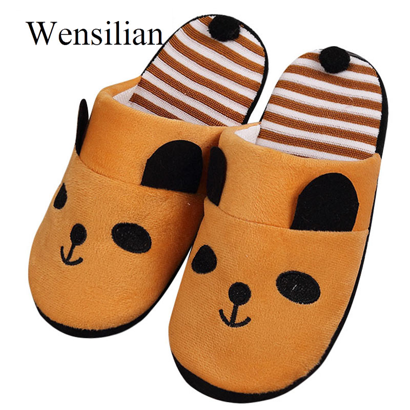 Women Home Slippers Cotton Warm Autumn Winter Non Slip Cute Cartoon Panda Indoor Soft Slippers Shoes Flats Female Slides unisex autumn winter warm soft home non silp pure color slippers indoor shoes cotton padded shoes soft women indoor slippers