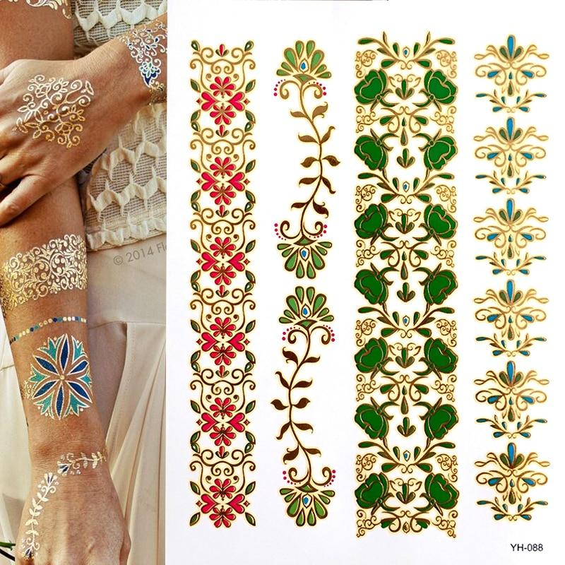 Hot Flash Metallic Waterproof Temporary Tattoo Gold Silver Tatoo Women Henna Boho Floral Design Tattoo Sticker