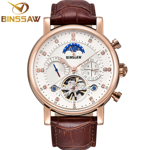 BINSSAW Men Automatic Mechanical Watch Tourbillon Luxury Fashion Brand Business Waterproof Leather Man Watches Relogio Masculino