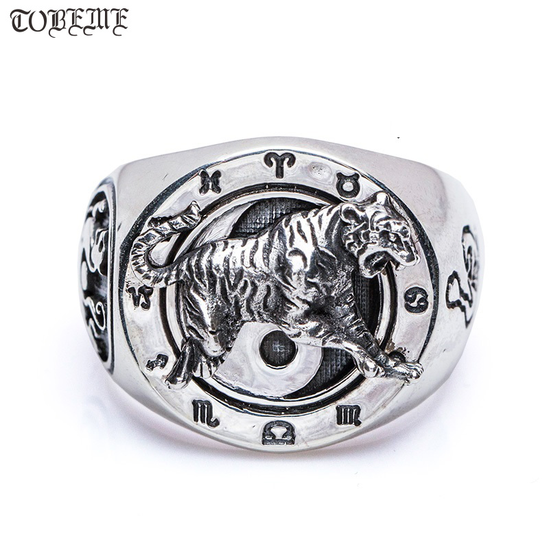 Handmade 100% 925 Silver Tiger Ring  Fengshui Lucky Symbol Ring 925 Sterling Silver Tiger Dragon Ring with constellation symbols-in Rings from Jewelry & Accessories    1