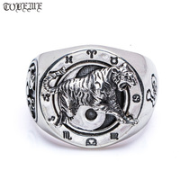 Handmade 100% 925 Silver Tiger Ring Fengshui Lucky Symbol Ring 925 Sterling Silver Tiger Dragon Ring with constellation symbols