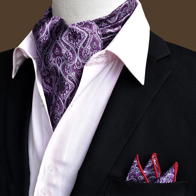 2017 Hot Ascot Tie Men's Suit Cachecol Paisley Neck Tie Gravata Jacquard Bufandas Custom Tie Wedding Shawl Cortabata Hombre