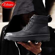 2019 New Mens High-top Shoes Trainers High Quality Genuine Leather Black Work Safety Man Military Boots Men Casual