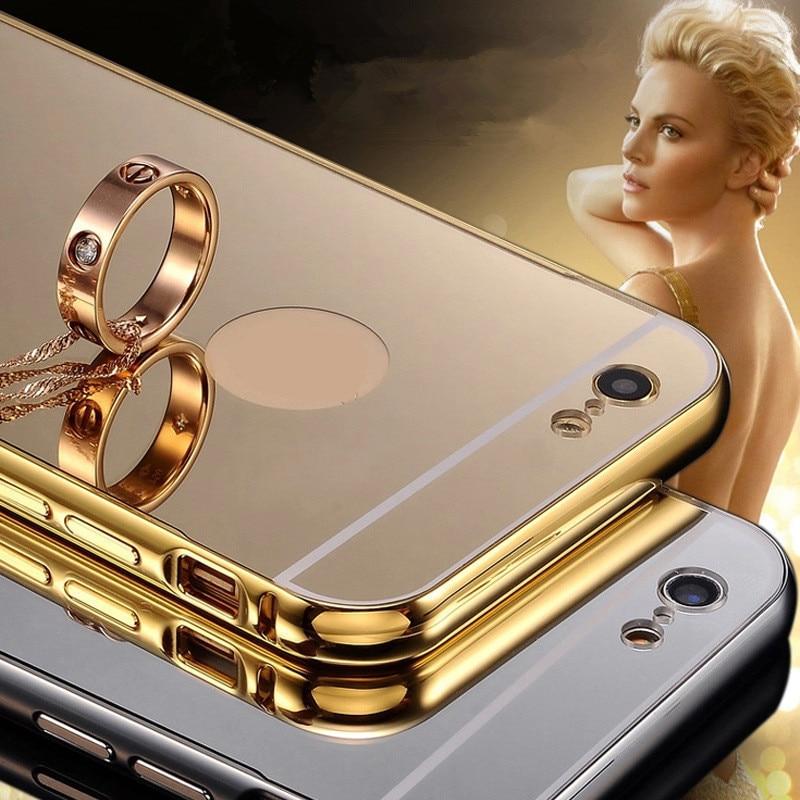 Etui For iphone6 plus 5S Mirror Back Cover ipone6 Case Gold Black Luxury Aluminum Metal Cases