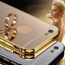 Etui Для iphone6 plus 5S Зеркало Задняя Крышка ipone6 Золото Случае Черный роскошный Металлический Алюминий Случаях Для iphone 7 7 Plus 6 6 плюс Coque