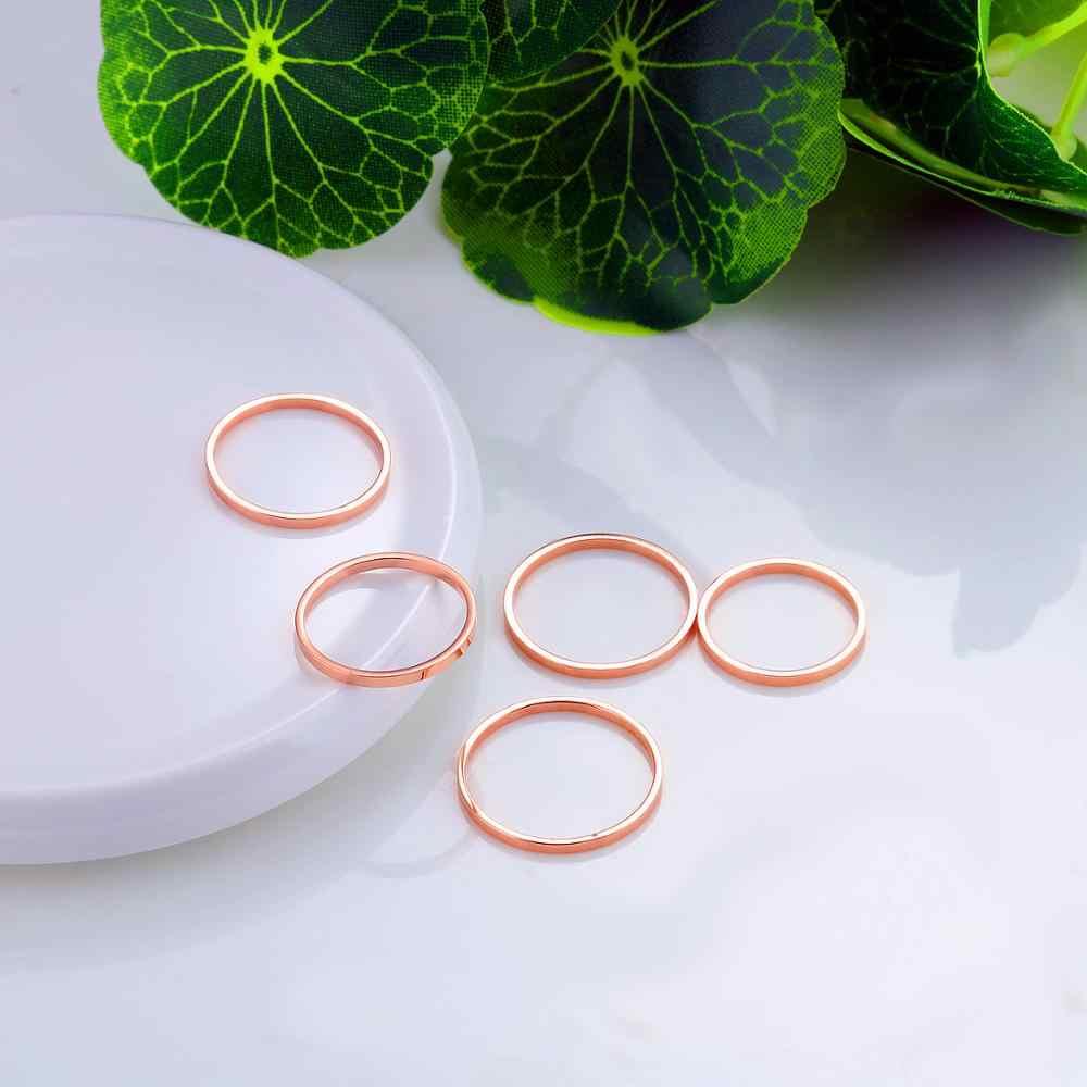 แม่ Rose Gold สีรอบบางแหวนไทเทเนียมสแตนเลสสไตล์เรียบง่ายแฟชั่นเครื่องประดับงานแต่งงานแหวน