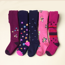 2 Pcs Baby Girl Tights  Winter Thicken Printed Tights Children Pantyhose Stockings Girls Knee High Flower Kids  Cotton Tights
