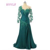 Green 2018 Mother Of The Bride Dresses Mermaid 3/4 Sleeves Tafffeta Beaded Long Brides Mother Dresses For Weddings Plus Size