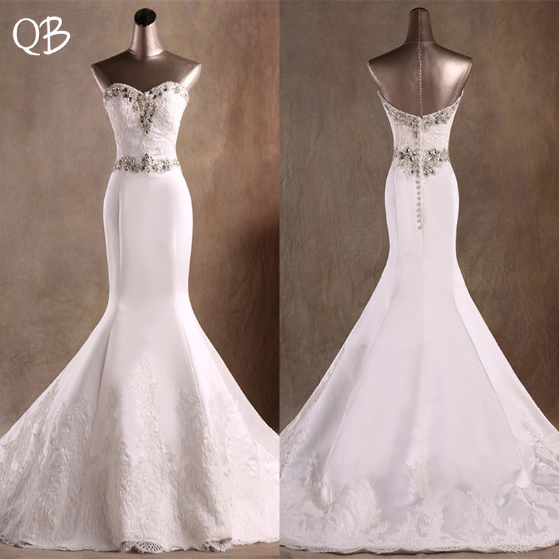 100% Real Photo Mermaid Sweetheart Satin Crystal Beaded Diamond Wedding Dresses Long Formal Elegant Sexy 2019 Bridal Gown DW109